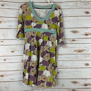 Boden Dress Green Floral Empire Waist Size 4P